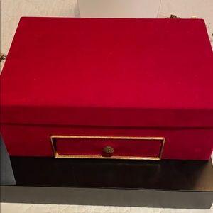 Vintage red velvet jewelry box